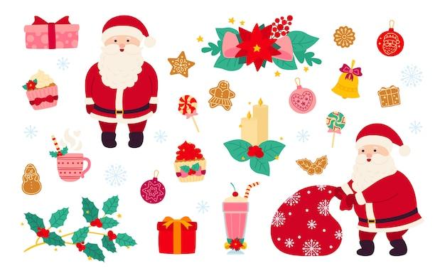 Kerstmis en nieuwjaar ingesteld. hulst, cupcake, bel, hoed, kerstman en koekjes cadeau, lolly kaars, maretak. platte cartoon designelementen. nieuwjaar objecten collectie. geïsoleerde illustratie