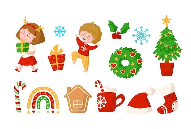 Kerstmis en nieuwjaar kinderen clipart