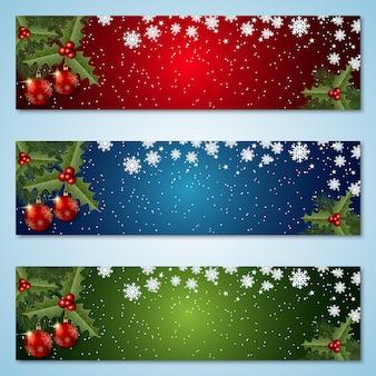 Kerstmis en nieuwjaar kleurrijke banners