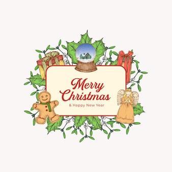 Kerstmis en nieuwjaar kleurrijke wenskaart met rechthoek frame banner en schattige typografie. seizoen vakantie groeten label of sticker lay-out met hand getekende engel, maretak en geschenken. geïsoleerd.