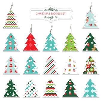 Kerstmis en nieuwjaar labels en stickers instellen.