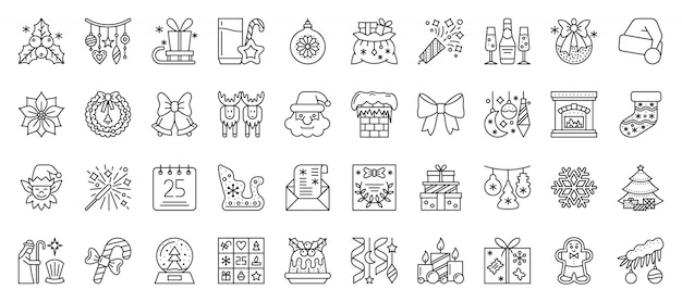 Kerstmis en nieuwjaar lijn iconen set, xmas overzichtstekens, winterseizoen symbool in lineaire stijl.