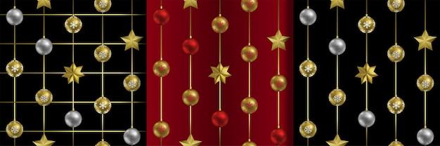 Kerstmis en nieuwjaar naadloze patronen set herhaal streep check wallpapers met vakantie-objecten