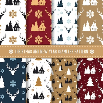 Kerstmis en nieuwjaar naadloze patroon set.