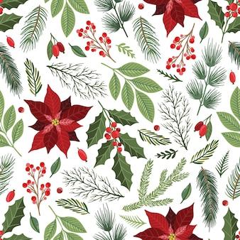 Kerstmis en nieuwjaar naadloze patroon, vector xmas achtergrond