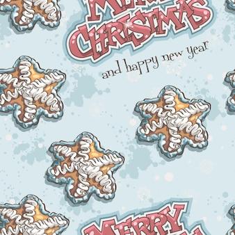 Kerstmis en nieuwjaar naadloze textuur met peperkoek