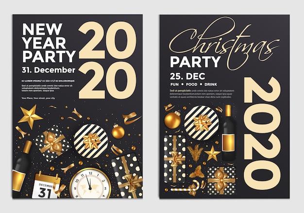 Kerstmis en nieuwjaar partij poster of flyer ontwerpsjabloon