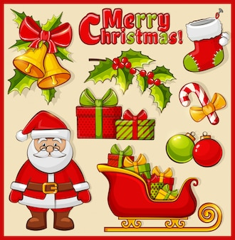 Kerstmis en nieuwjaar pictogrammen. decoratie set.