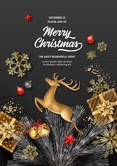Kerstmis en nieuwjaar poster illustratie