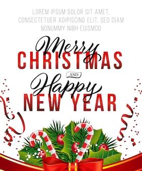 Kerstmis en nieuwjaar posterontwerp