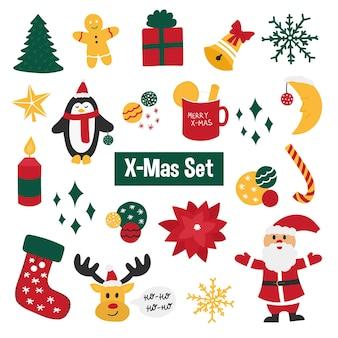 Kerstmis en nieuwjaar set met de kerstman, pinguïn, sok, boom, kaars, sneeuwvlok. premium vector