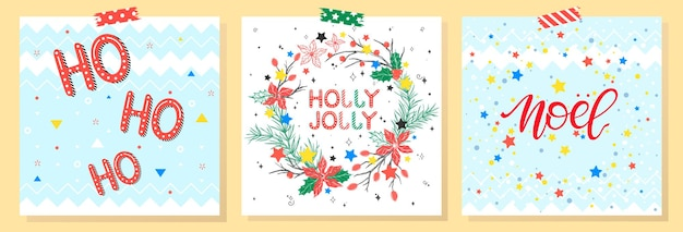 Kerstmis en nieuwjaar typografie. aantal vakantiekaarten met groeten, krans, sneeuwvlokken en sterren. seizoensgroeten perfect voor prenten, flyers, kaarten, uitnodigingen en meer. vectorillustraties.