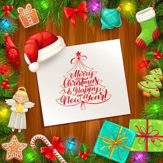 Kerstmis en nieuwjaar vector wenskaart met frame van kerstboom en geschenken op houten achtergrond.