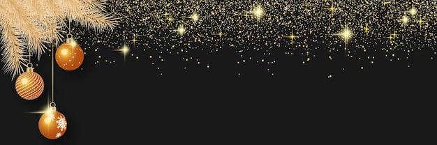 Kerstmis en nieuwjaar vectorbanner met sterren en sneeuwvlokken