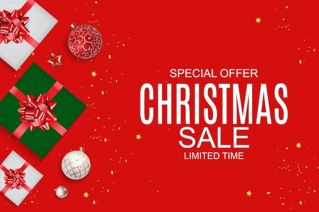 Kerstmis en nieuwjaar verkoop achtergrond, kortingsbon sjabloon