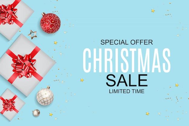 Kerstmis en nieuwjaar verkoop achtergrond, kortingsbon sjabloon.