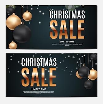 Kerstmis en nieuwjaar verkoop cadeaubon, kortingsbon sjabloon vectorillustratie eps10