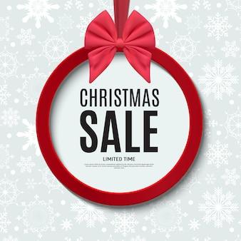 Kerstmis en nieuwjaar verkoop cadeaubon, kortingsbon sjabloon vectorillustratie