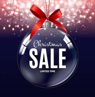 Kerstmis en nieuwjaar verkoop cadeaubon, kortingsbon sjabloon