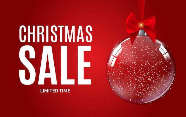 Kerstmis en nieuwjaar verkoop cadeaubon, kortingsbon vector