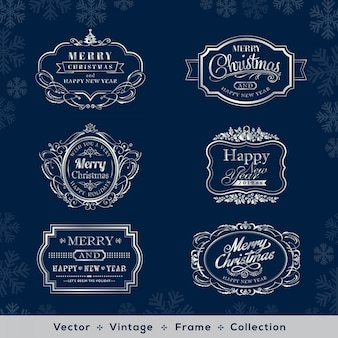 Kerstmis en nieuwjaar vintage zilveren frame op donkerblauwe achtergrond