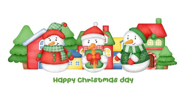 Kerstmis en nieuwjaar wenskaart met een schattige sneeuwpop.