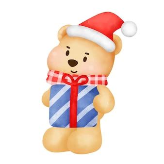 Kerstmis en nieuwjaar wenskaart met een schattige teddybeer in aquarel stijl.