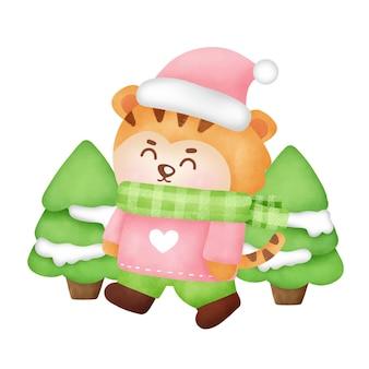 Kerstmis en nieuwjaar wenskaart met schattige tijger in aquarel stijl.