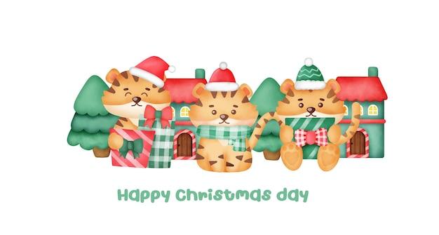 Kerstmis en nieuwjaar wenskaart met schattige tijgers.