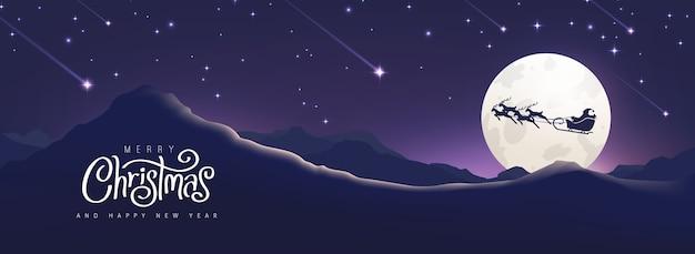 Kerstmis en nieuwjaar winterlandschap met santa slee silhouet bij maan