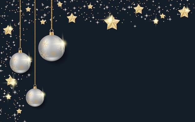 Kerstmis en nieuwjaar zwarte luxe vector achtergrond met winter decor
