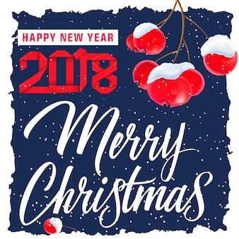 Kerstmis en nieuwjaarskaart met bessen