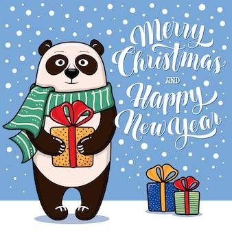 Kerstmis en nieuwjaarskaart met staande panda