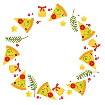 Kerstmis en oud en nieuw cirkelframe met pizza. achtergrond voor pizzeria-menu, marketingmateriaal, uitnodigingskaarten, advertenties, ansichtkaarten