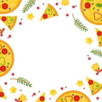 Kerstmis en oud en nieuw vierkant frame met pizza.