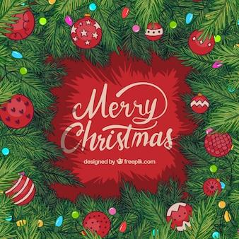 Kerstmis frame met takken sparren