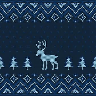 Kerstmis gebreid naadloos patroon.