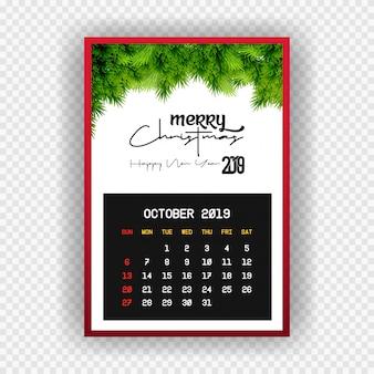 Kerstmis gelukkig nieuwjaar 2019 kalender oktober