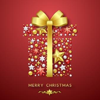 Kerstmis geschenkdoos achtergrond met stralende boog, sterren en kleurrijke ballen
