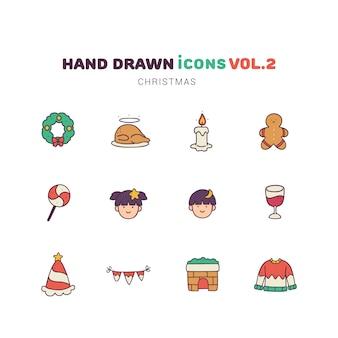 Kerstmis gevulde kleur hand getrokken pictogrammen