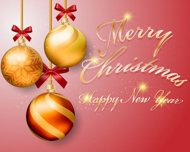 Kerstmis gouden ballen en nieuwe jaar ontwerp achtergrond.