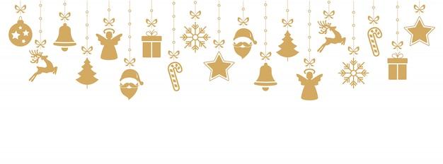 Kerstmis gouden elementen die geïsoleerde achtergrond hangen
