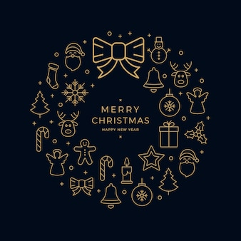 Kerstmis gouden pictogram krans elementen cirkel zwarte achtergrond