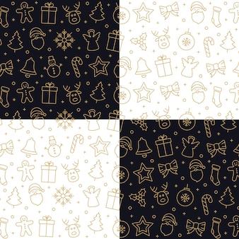 Kerstmis gouden pictogram patroon elementen witte zwarte achtergrond