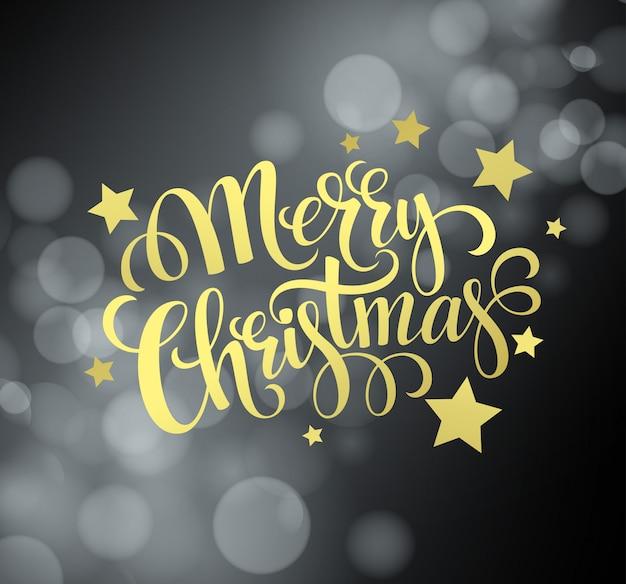 Kerstmis gouden tekst op bokehachtergrond, groetkaart