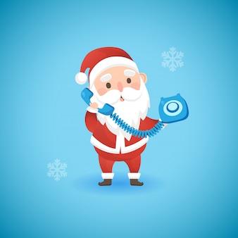 Kerstmis grappige santa claus die blauwe oude telefoon, vectorillustratie houden.