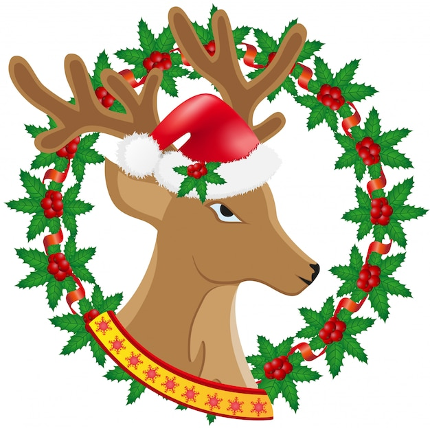 Kerstmis hertenkroon van hulstbessen vectorillustratie