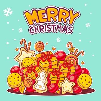 Kerstmis illustratie van rode en gele stapel objecten en met de hand geschreven tekst