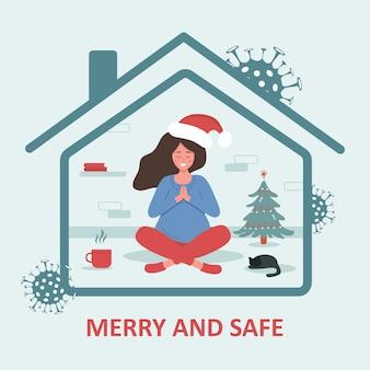 Kerstmis in covid-19 pandemie. vrouw in kerstmuts met zittend in lotushouding en het vieren van kerstmis. een prettige en veilige vakantie. quarantaine of zelfisolatie. trendy platte illustratie.