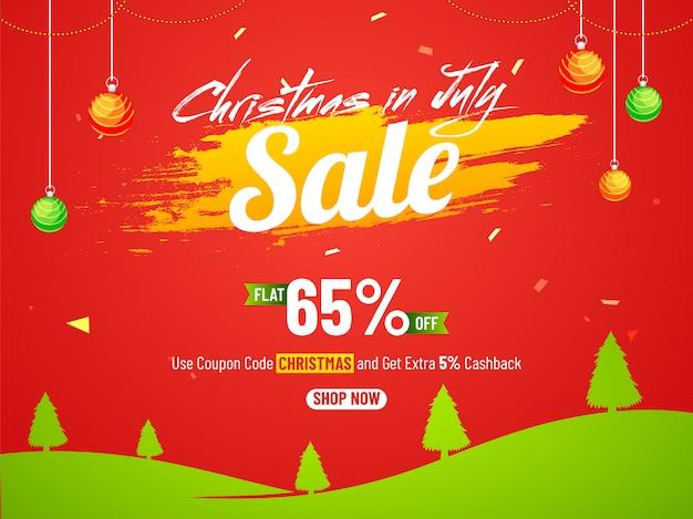 Kerstmis in de fest sale-banner van juli.